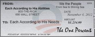 Obama Check 47% vs. 1% Cartoon