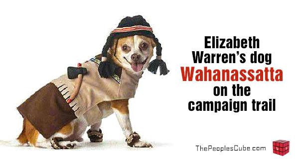 Elizebeth Warren takes her dog Wahanassatta campaigning
