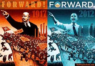 Campaign slogan Forward - Obama like Lenin funny satire