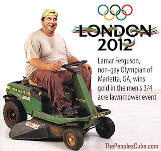 Lawnmower Olympics parody cartoon