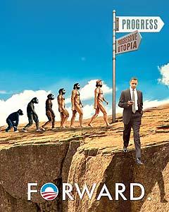 Obama slogan Forward off the cliff satirical cartoon