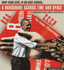 Obama and Soviet Propaganda Cartoon