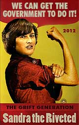 Funny Sandra Fluke cartoon: From Rosie the Riveter to Sandra the Riveted