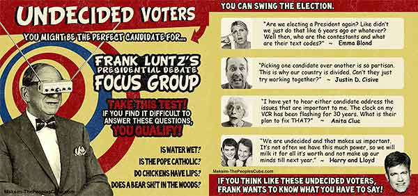 Undecided voter funny political cartoon