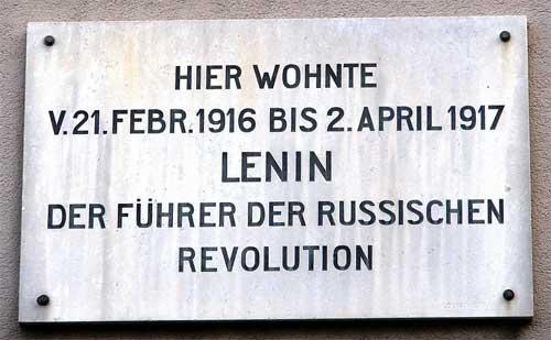 Curso de lengua alemana y diccionario Lenin_Zurich_Plate_Fuehrer