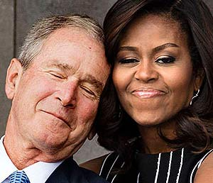 Michelle Obama, George Bush