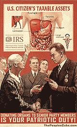 Party Organ Donor Obamacare Cartoon - Parody of Soviet Poster