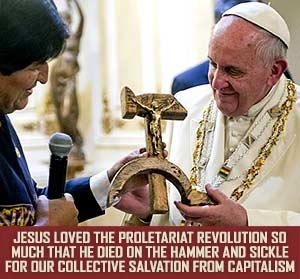 Jesus on hammer & sickle