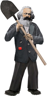 Karl Marx with a shovel