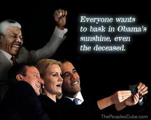 Nelson Mandela Crashes Obama selfie party cartoon