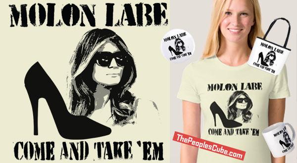 Melania's shoes on 'Molon Labe' T-shirts