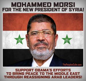 Mohammed Morsi for President of Syria satirical poster
