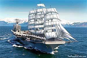 Sail-powered US Navy carrier cartoon