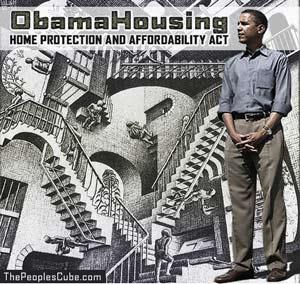 Obama Housing Escher optical illusion cartoon