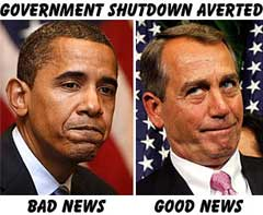 Government Shutdown: Obama, Boehner funny political cartoon