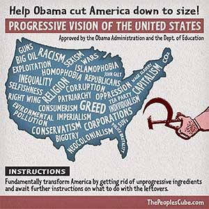 Obama's Map of America funny cartoon