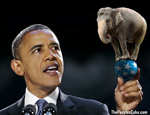 Obama holds Republican Elephant in hand funny cartoon