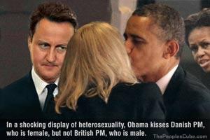 Obama kisses Danish PM, refuses to kiss British PM cartoon