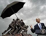 Obama umbrella marines funny cartoon