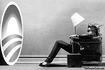 Woman voter blown away by Obama's slogan enhancement parody cartoon
