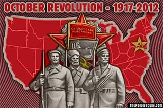 Obama's October Socialist Revolution in America cartoon poster