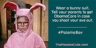 Pajama Boy Raphie Obamacare Bunny Suit parody