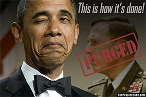 Obama purges Petraeus - this is how it's done - editorial cartoon