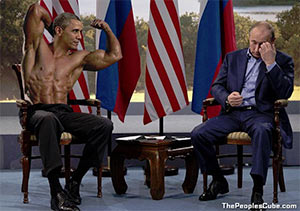 Manly Obama pictures vs. shirtless Putin
