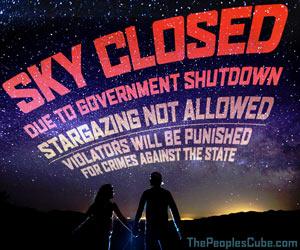 SKY CLOSED due to government shutdown funny cartoon