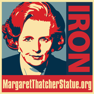 Oleg Atbashian's Margaret Thatcher logo for statue campaign in UK