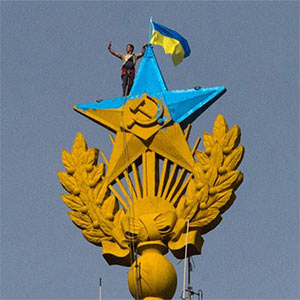 Protester Raises Ukraine Flag over Moscow's Stalinist Spire