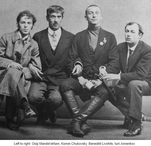 (L-to-R).Osip Mandel'shtam, Kornei Chukovsky, Benedikt Livshits, Iurii Annenkov, 1914.png